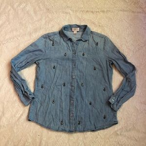 Ann Taylor Loft chambray embellished button up top